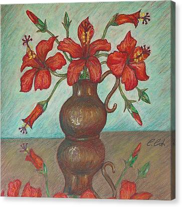 Red Hibiscus With Blue Background Canvas Print by Claudia Cox
