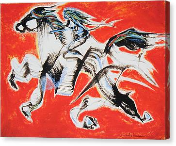 Red Horse And Rider Canvas Print by Asha Carolyn Young