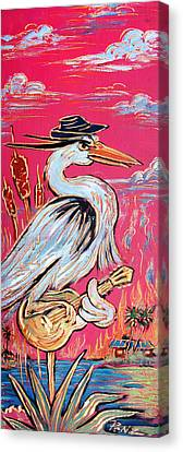 Red Hot Heron Blues Canvas Print by Robert Ponzio