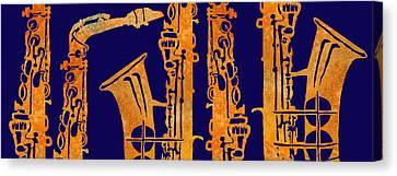 Red Hot Sax Keys Canvas Print by Jenny Armitage