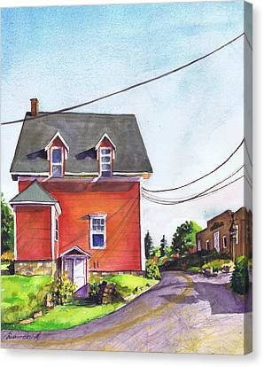 Red House Bass Harbor Canvas Print by Susan Herbst
