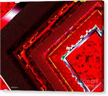 Textures Canvas Print featuring the digital art Red Lines Art  by Mario  Perez