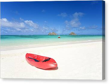 Red Kayak At Lanikai Canvas Print by M Swiet Productions