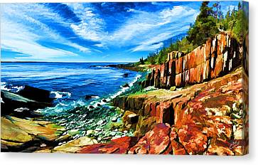 Red Ledge At Quoddy Head Canvas Print by Bill Caldwell -        ABeautifulSky Photography