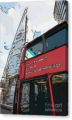 Red London Bus And The Shard - Pop Art Style Canvas Print by Ian Monk