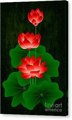 Red Lotus Canvas Print by Maurisca Sardju