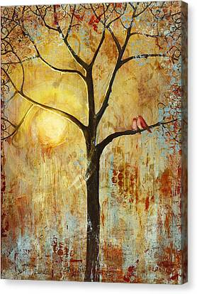 Red Love Birds In A Tree Canvas Print by Blenda Studio