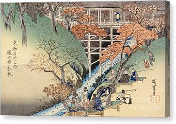 Red Maple Leaves At Tsuten Bridge Canvas Print by Ando Hiroshige