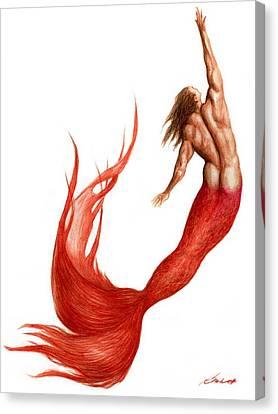 Red Merman Canvas Print by Bruce Lennon