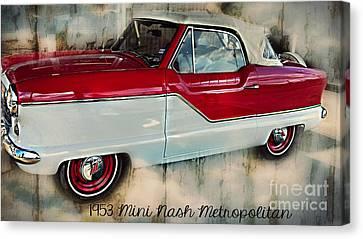 Red Mini Nash Vintage Car Canvas Print by Peggy  Franz