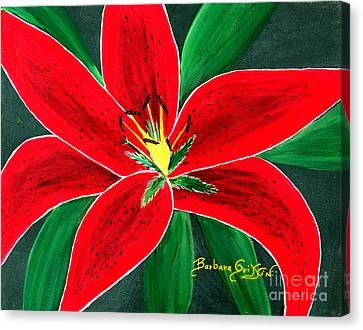Red Oriental Daylily Canvas Print by Barbara Griffin