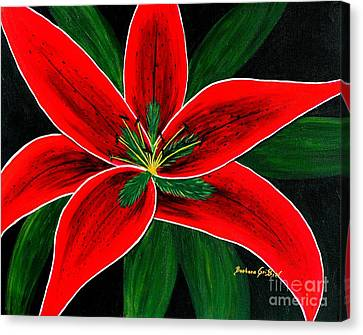 Red Oriental Lily Canvas Print by Barbara Griffin