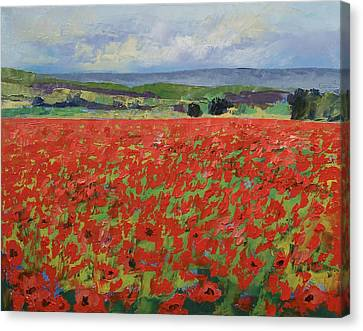 Red Oriental Poppies Canvas Print by Michael Creese