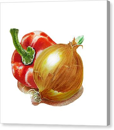 Red Pepper And Yellow Onion Canvas Print by Irina Sztukowski