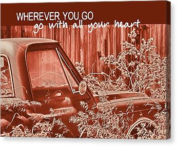 Red Pickup Quote Canvas Print by JAMART Photography