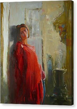 Red Poncho Canvas Print by Irena  Jablonski
