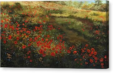 Red Poppy Field Canvas Print by Cecilia Brendel