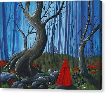 Red Riding Hood In The Forest Canvas Print by Anastasiya Malakhova