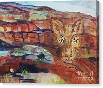 Red Rocks Mountain Lion - Surreal Abstract Canvas Print by Ellen Levinson