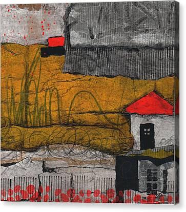 Red Roof Black Door Canvas Print by Laura  Lein-Svencner