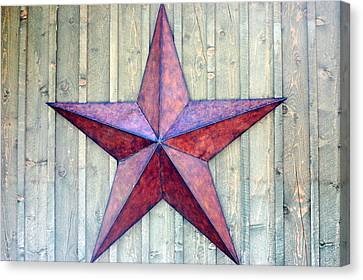 Red Rusted Star Canvas Print by Holly Blunkall