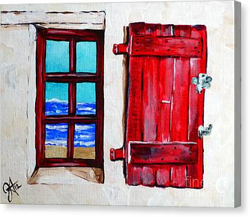 Red Shutter Ocean Canvas Print by Jackie Carpenter