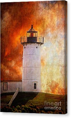Red Sky At Morning - Nubble Lighthouse Canvas Print by Lois Bryan
