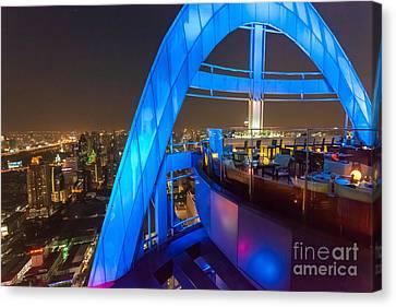 Red Sky Bar In Bangkok Thaila Canvas Print by Fototrav Print