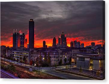 Red Sky Sunrise Midtown Atlanta Canvas Print by Reid Callaway
