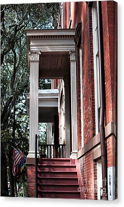 Red Stairs Canvas Print by John Rizzuto
