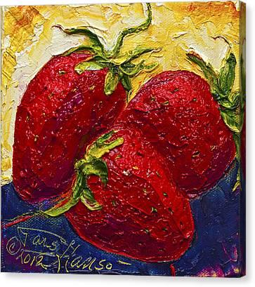 Red Strawberries II Canvas Print by Paris Wyatt Llanso