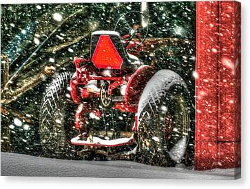 Red Tractor Winter Canvas Print by Michael Allen