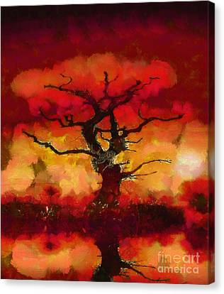 Red Tree Of Life Canvas Print by Pixel Chimp