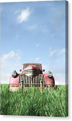 Red Truck Canvas Print by Cynthia Decker