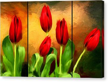 Red Tulips Triptych Canvas Print by Lourry Legarde