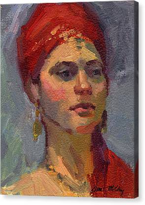 Red Turban Canvas Print by Diane McClary