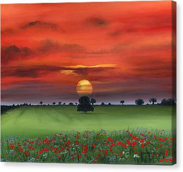 Red Tuscan Sunrise With Poppy Field Canvas Print by Cecilia Brendel