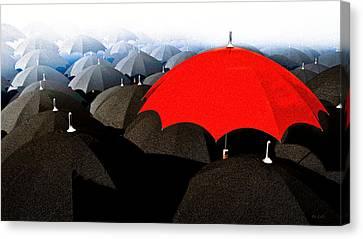 Red Umbrella In The City Canvas Print by Bob Orsillo