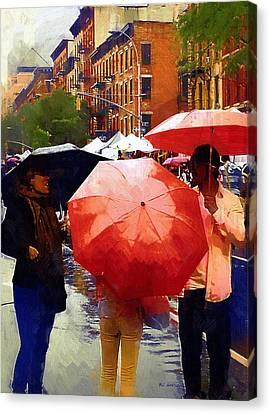 Red Umbrellas In The Rain Canvas Print by RC deWinter