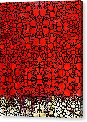Red Valley - Abstract Landscape Stone Rock'd Art Canvas Print by Sharon Cummings