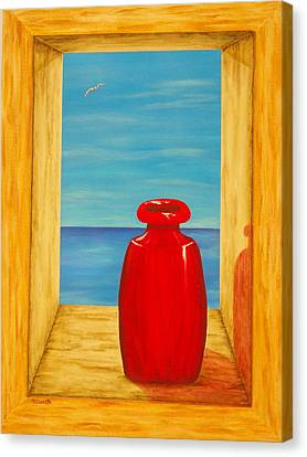 Red Vase Canvas Print by Pamela Allegretto