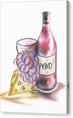 Red Vino Taken With Cheddar Cheese Canvas Print by Teresa White