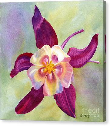Red Violet Columbine With Background Canvas Print by Sharon Freeman