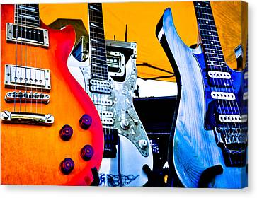 Red White And Blue Guitars Canvas Print by David Patterson