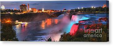 Red White And Blue Niagara Panorama Canvas Print by Adam Jewell
