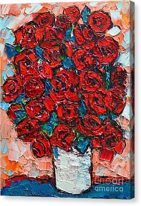 Red Wild Roses Canvas Print by Ana Maria Edulescu