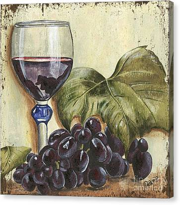 Red Wine And Grape Leaf Canvas Print by Debbie DeWitt