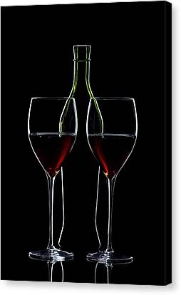 Red Wine Bottle And Wineglasses Silhouette Canvas Print by Alex Sukonkin
