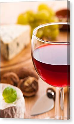 Red Wine With Cheese Canvas Print by Amanda And Christopher Elwell