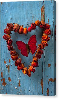 Red Wing Butterfly In Heart Canvas Print by Garry Gay